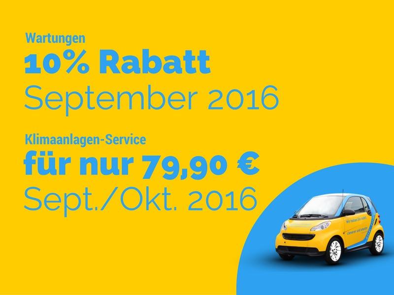 10% Rabatt auf Wartungsdienste (September 2016) und Klimaanlagen-Service für 79,90 € (Sept/Okt)