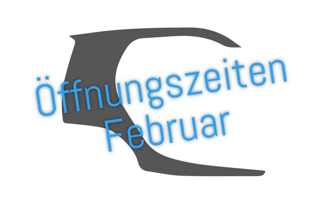 Öffnungszeiten Februar – Weiterbildung (01.02 – 03.02.) und Urlaub (12.02. – 17.02.)